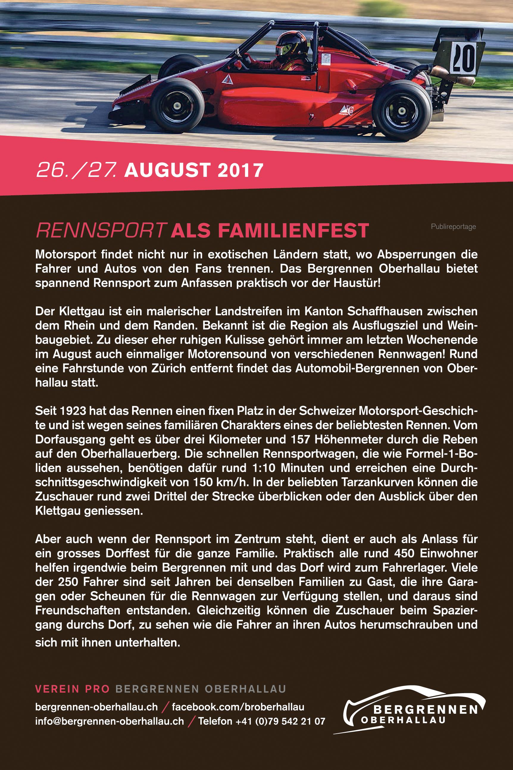 Publireportage - Rennsport als Familienfest